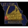 CITY OF ST LOUIS, MO WITH GATEWAY ARCH AND RIVERBOAT CITY PIN