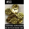 PIN BACKS MILITARY BUTTERFLY GOLD #50 COUNT METAL CLUTCHES TACK BACKS